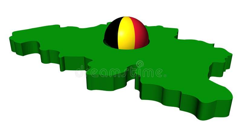 Belgisch vlaggebied met kaart vector illustratie