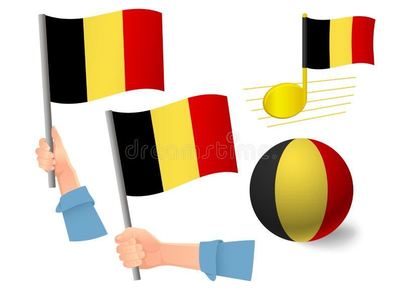 Belgisch vlagpictogram instellen stock illustratie