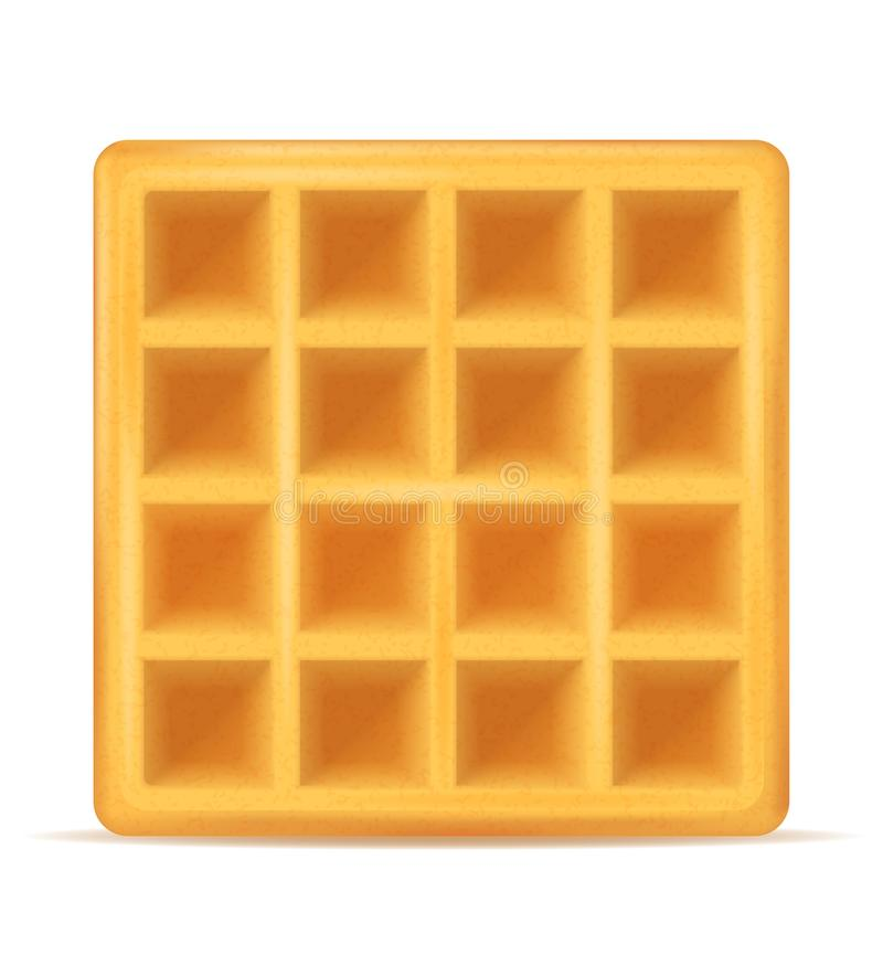 Belgisch wafel zoet dessert voor ontbijt vectorillustratie vector illustratie