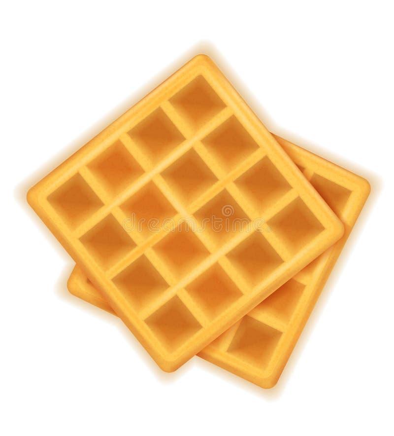 Belgisch wafel zoet dessert voor ontbijt vectorillustratie stock illustratie