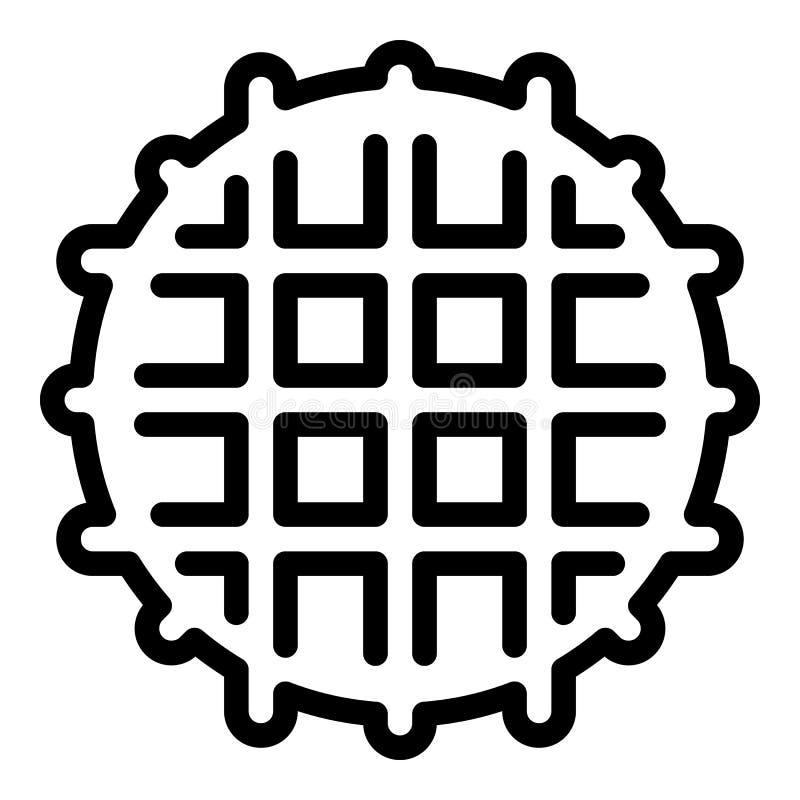 Belgisch wafelpictogram, overzichtsstijl stock illustratie