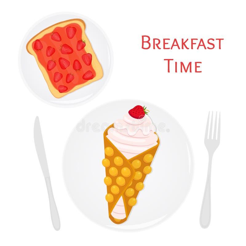 Belgische, Chinese wafel met room, bessen, toost met aardbeijam vector illustratie