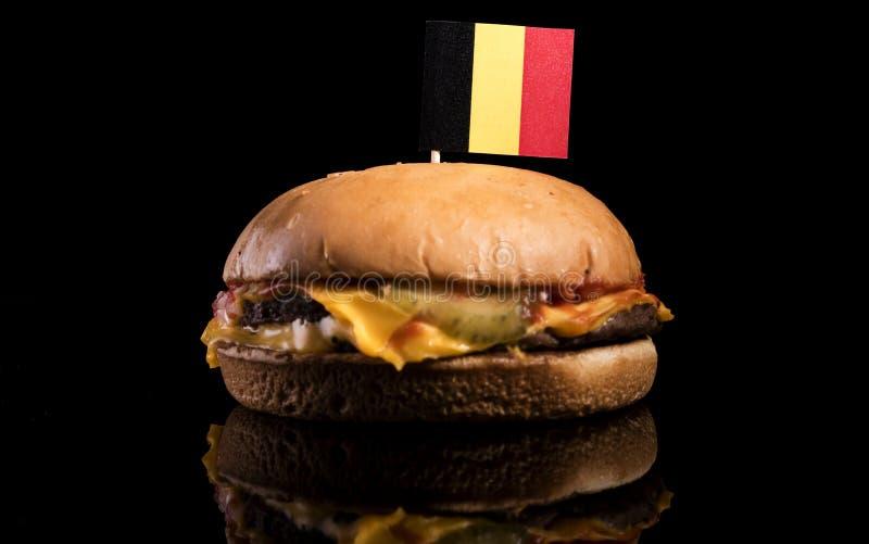 Download Belgische Flagge Auf Den Hamburger Lokalisiert Auf Schwarzem Stockfoto - Bild von gesund, burger: 96933992