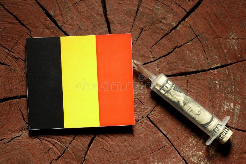 Download Belgische Flagge Auf Einem Stumpf Mit Der Spritze, Die Geld Einspritzt Stockfoto - Bild von markierungsfahne, regierung: 96934204