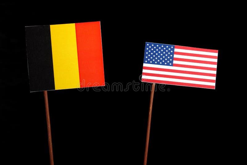 Download Belgische Flagge Mit USA-Flagge Lokalisiert Auf Schwarzem Stockbild - Bild von amerikanisch, markt: 96934157