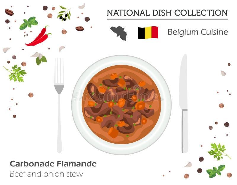 Belgische Küche Europäische Nationalgerichtsammlung Rindfleisch und oni vektor abbildung
