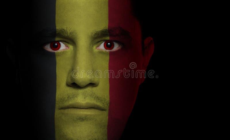 Belgische Vlag - Mannelijk Gezicht royalty-vrije stock afbeeldingen