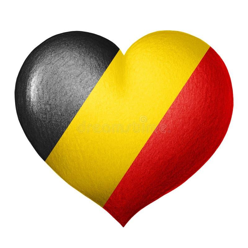 Belgisches Flaggenherz lokalisiert auf weißem Hintergrund Zeichnung des Baums auf einem weißen Hintergrund stockbilder
