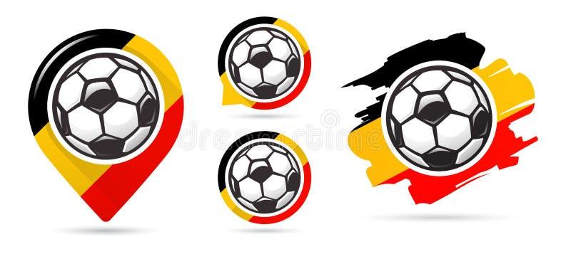 Belgiska fotbollvektorsymboler Bollen i netto Uppsättning av fotbollsymboler Fotbollöversiktspekare sport för fotboll för bollfot stock illustrationer