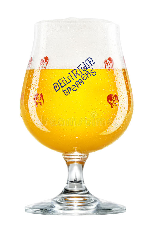 Belgiskt öl för delirium tremens i etikettexponeringsglas royaltyfri bild