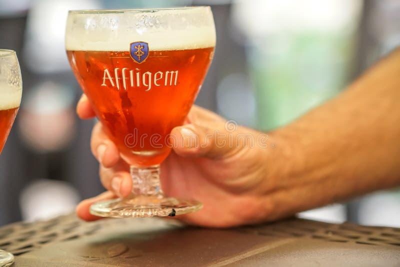 Belgiskt rött öl för Affligem abbotskloster royaltyfria foton