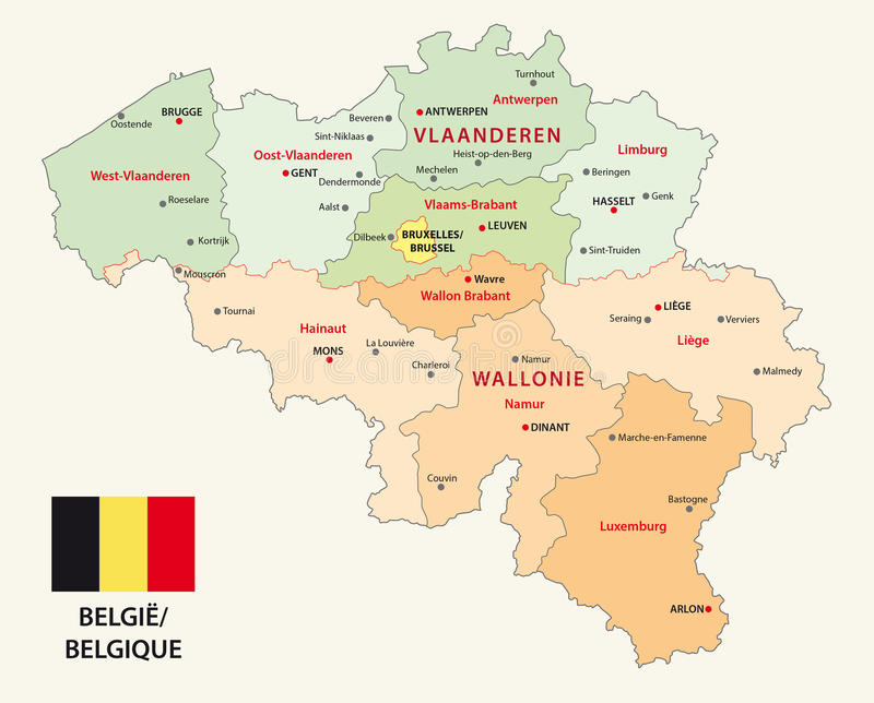 Belgium Administrative Map With Flag Stock Vector Illustration of