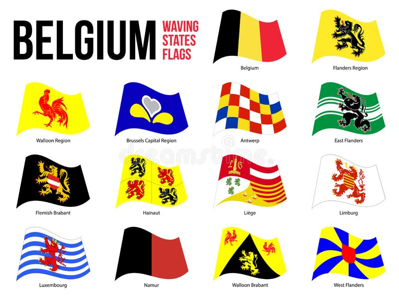 Belgium All Region & Provinces Flag Waving Vector Illustration on White Background. Flags of Belgium. Correct Size, Proportion and Colors vector illustration