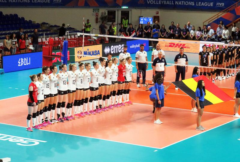 Belgium anthem. The volleyball belgium national team during the anthem in the nations league match belgium vs thailand played at eboli in italy. 14/6/2018 stock images