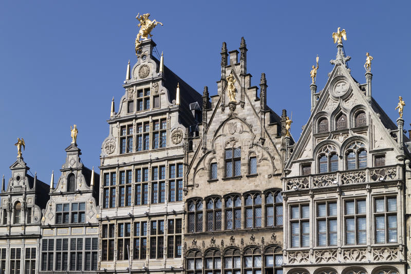 Belgium, Antwerp, March 17, 2016, Row of historical Flemish guild houses on the Grote markt stock photos