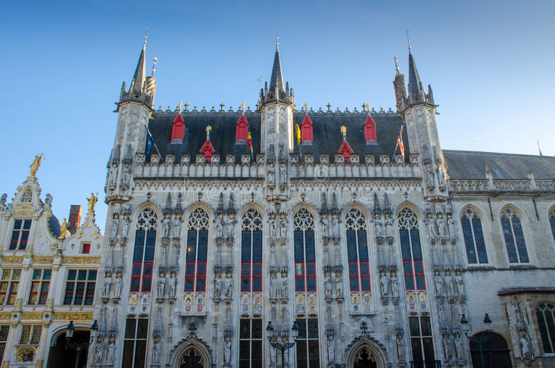 Belgium, Bruges city hall Gothic facade royalty free stock images