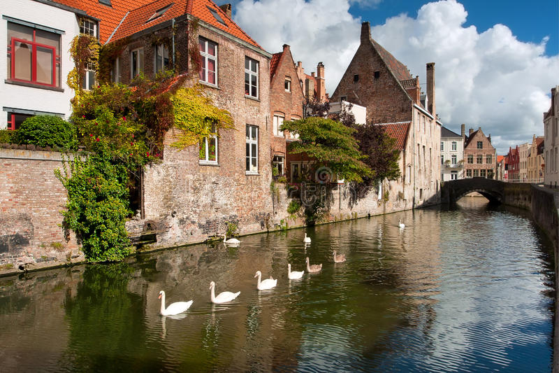 Belgium, Brugge. Water channel Colden-Handrel. The architecture of the old town. The beginning of autumn, September royalty free stock photos