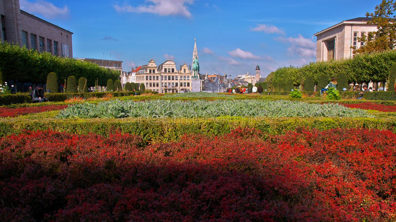 Belgium Brussels Garden of the Mont des Arts and downtown stock photo