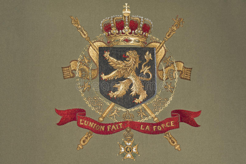 Belgium coat of arms. Embroidery of Belgium Coat of Arms on Fabric stock photo