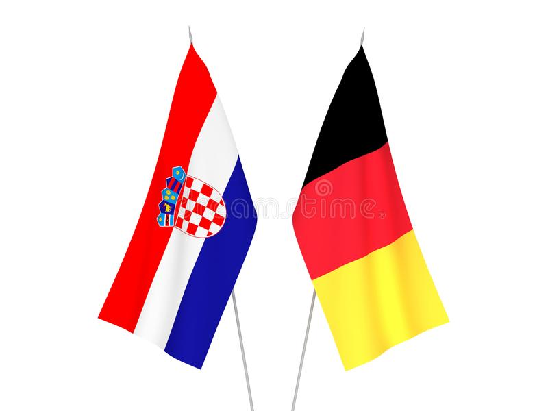 Belgium and Croatia flags. National fabric flags of Belgium and Croatia isolated on white background. 3d rendering illustration stock illustration
