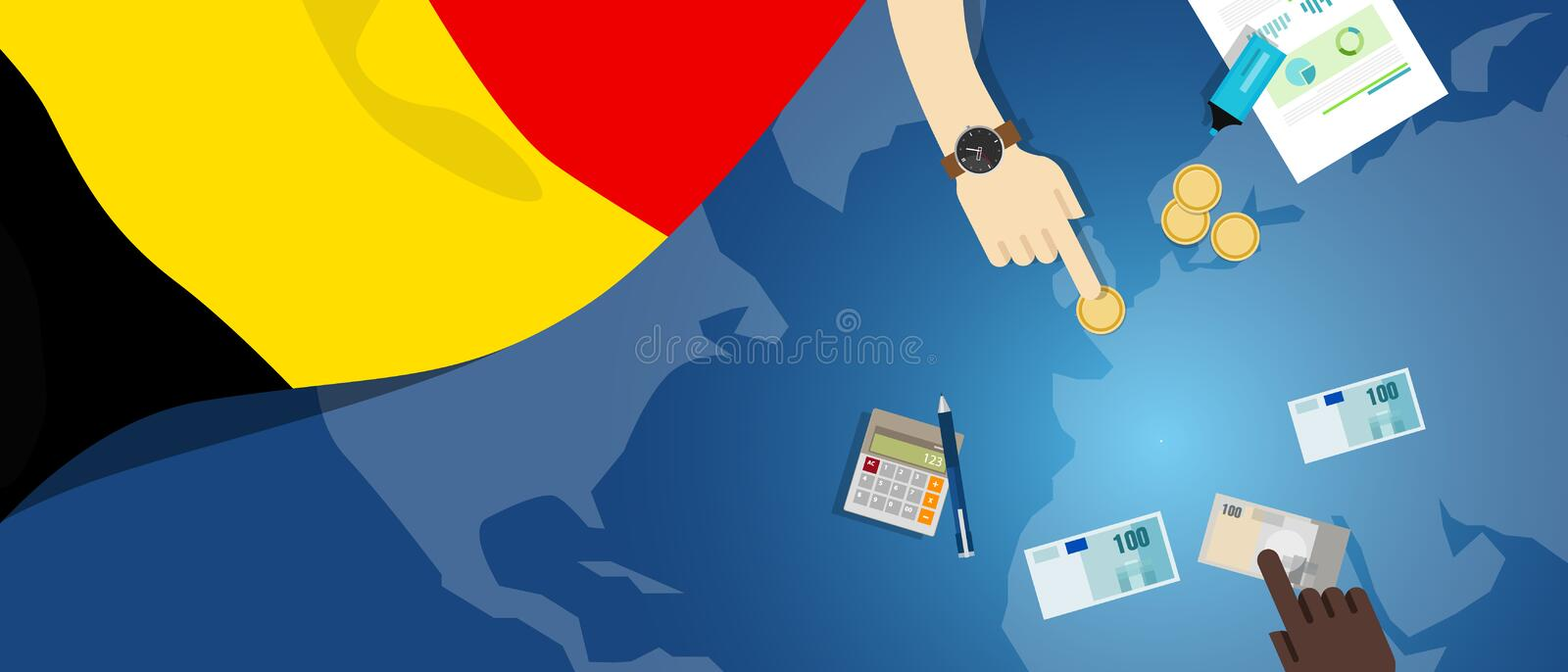 Belgium economy fiscal money trade concept illustration of financial banking budget with flag map and currency. Vector vector illustration