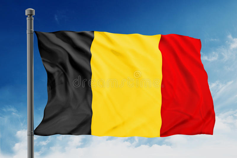 Belgium flag. On blue sky royalty free stock photo