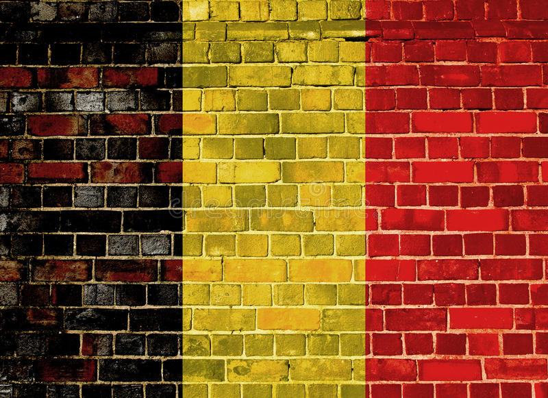 Belgium flag on a brick wall. Belgium flag on an old brick wall background royalty free stock photography