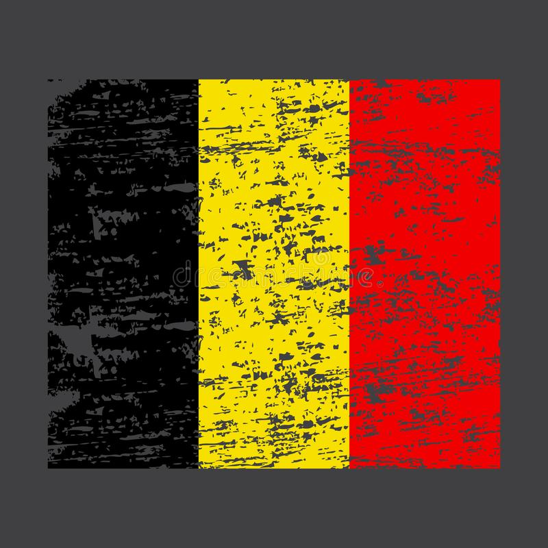 Belgium Flag. Brush painted Belgium flag. Hand drawn style illustration with a grunge effect and watercolor. Belgium flag with stock illustration