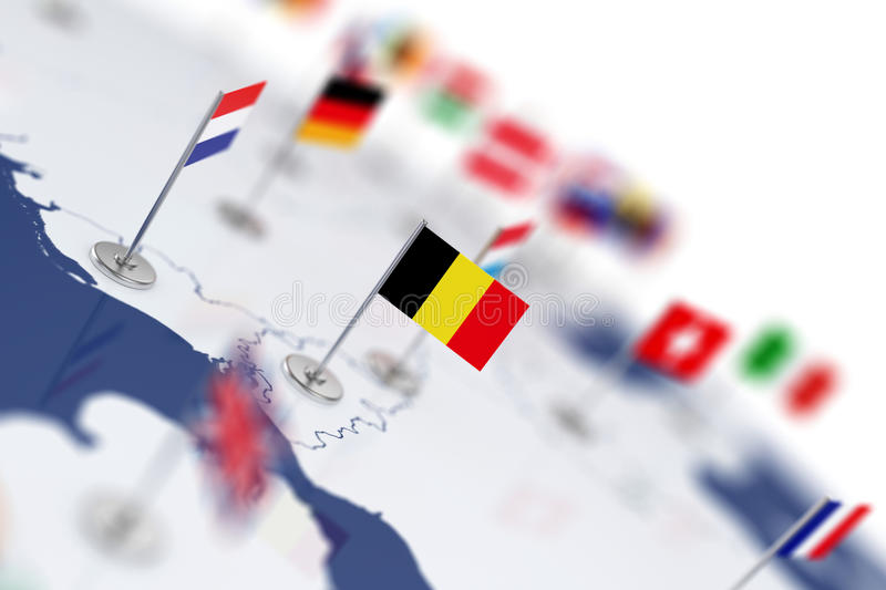 download belgium flag in the focus europe map with countries flags stock illustration illustration