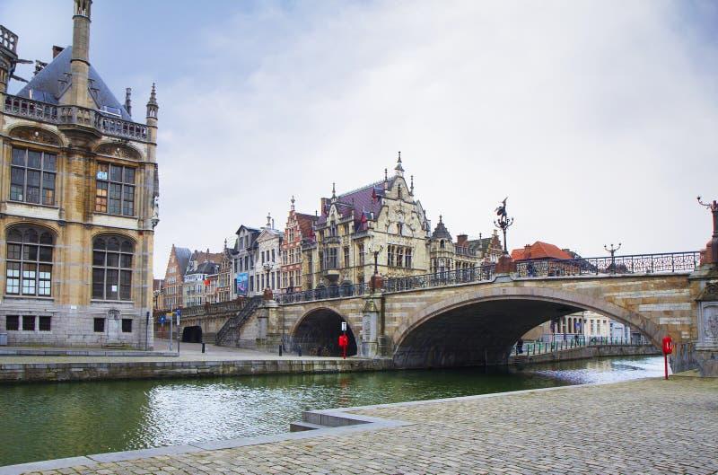 belgium gent Il ponte di St Michael fotografie stock