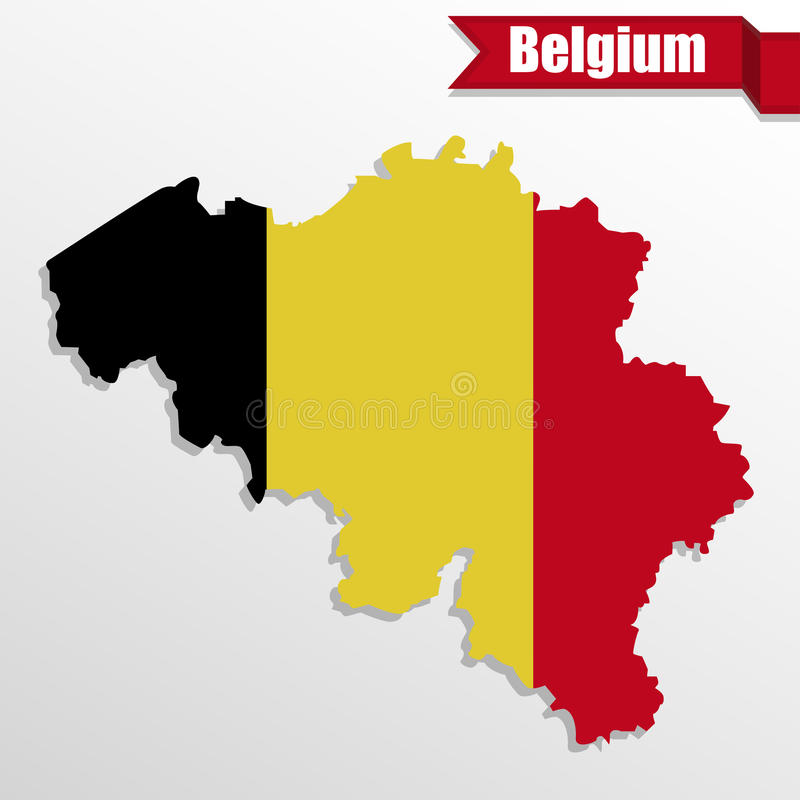 Belgium map with Belgium flag inside and ribbon vector illustration