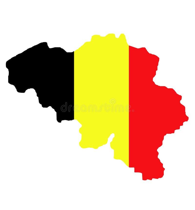 Belgium map and flag stock illustration