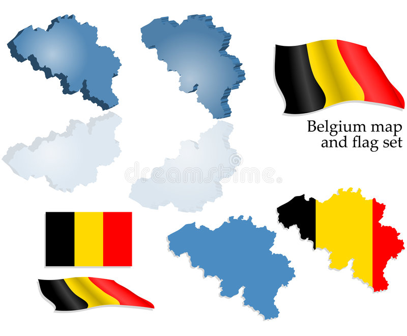 Download Belgium map and flag set stock vector. Illustration of stylized - 6034560