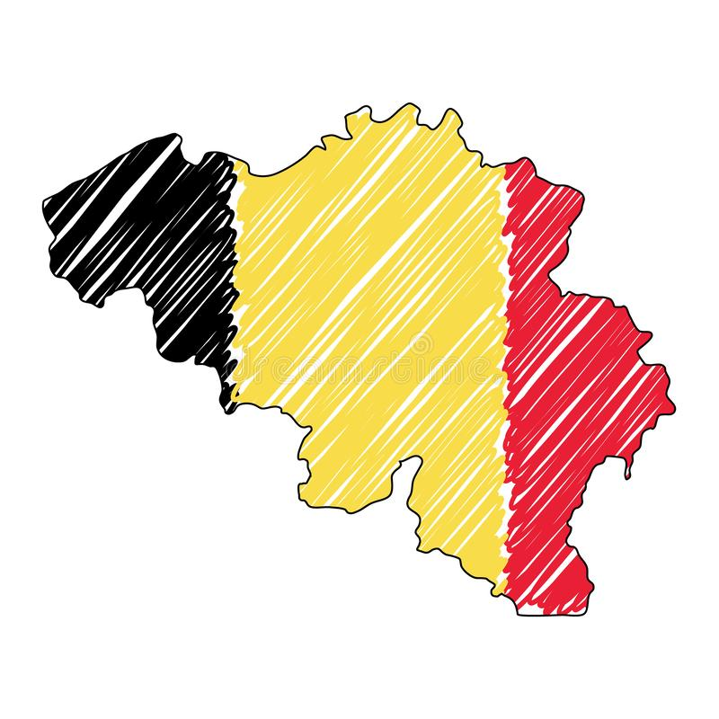 Belgium map hand drawn sketch. Vector concept illustration flag, childrens drawing, scribble map. Country map for. Infographic, brochures and presentations stock illustration