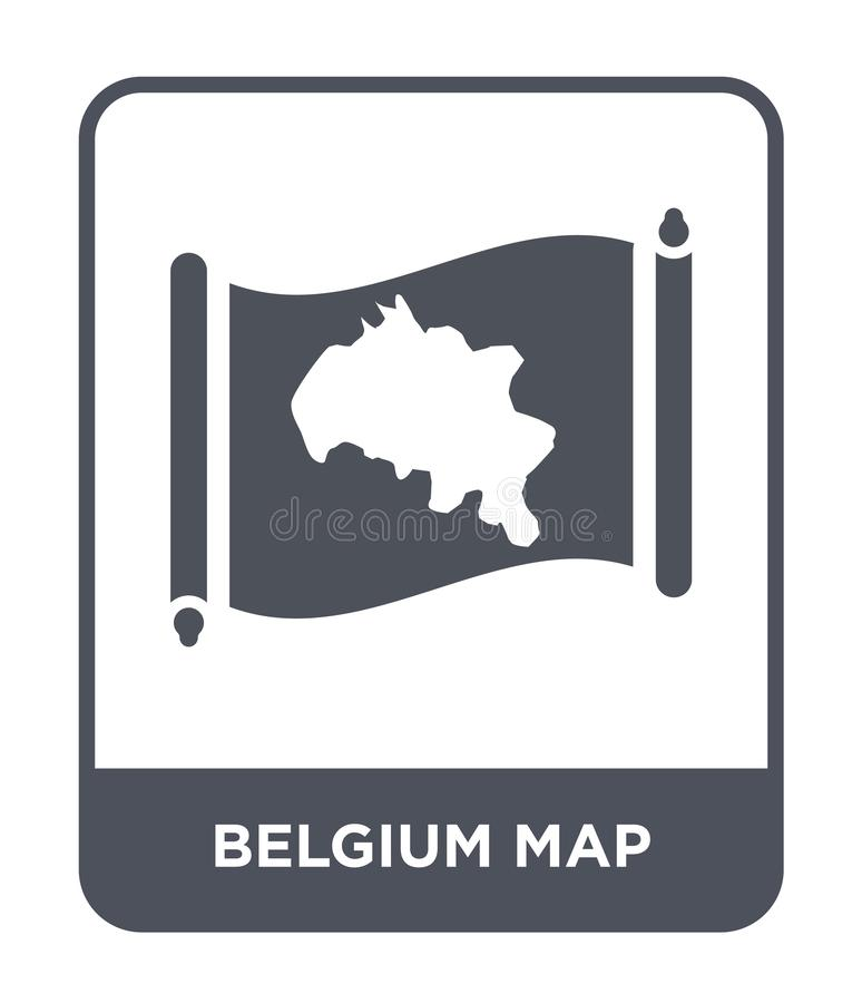 Belgium map icon in trendy design style. belgium map icon isolated on white background. belgium map vector icon simple and modern. Flat symbol for web site royalty free illustration