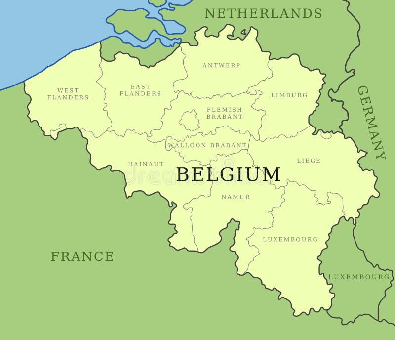 Belgium provinces map vector illustration