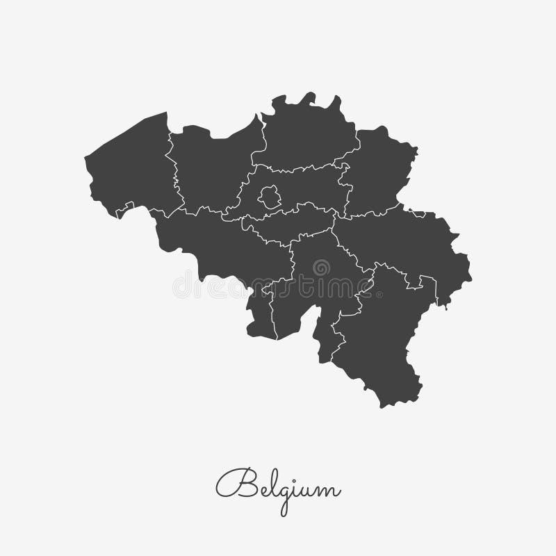 Belgium region map: grey outline on white. royalty free illustration