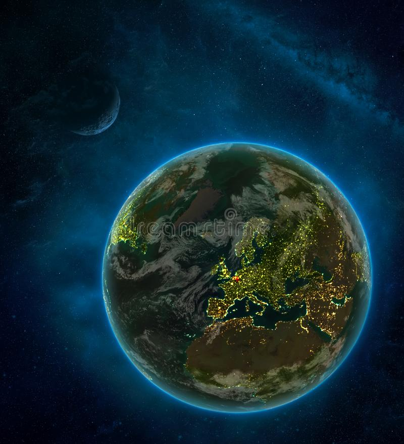Belgium from space on Earth at night surrounded by space with Moon and Milky Way. Detailed planet with city lights and clouds. 3D. Illustration. Elements of vector illustration