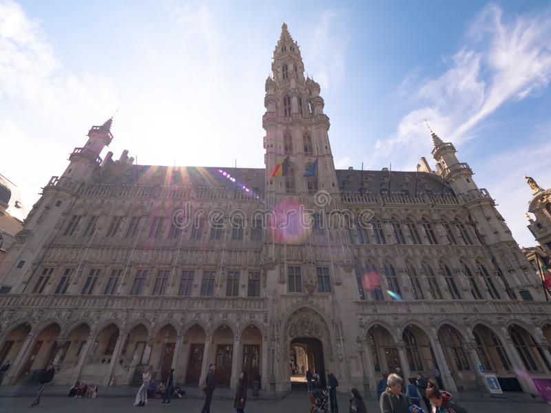 Belgium, the town square of Belgium where many people. Brussels, antwerp, night, place, grand, city, architecture, bruxelles, landmark, famous, europe stock photos