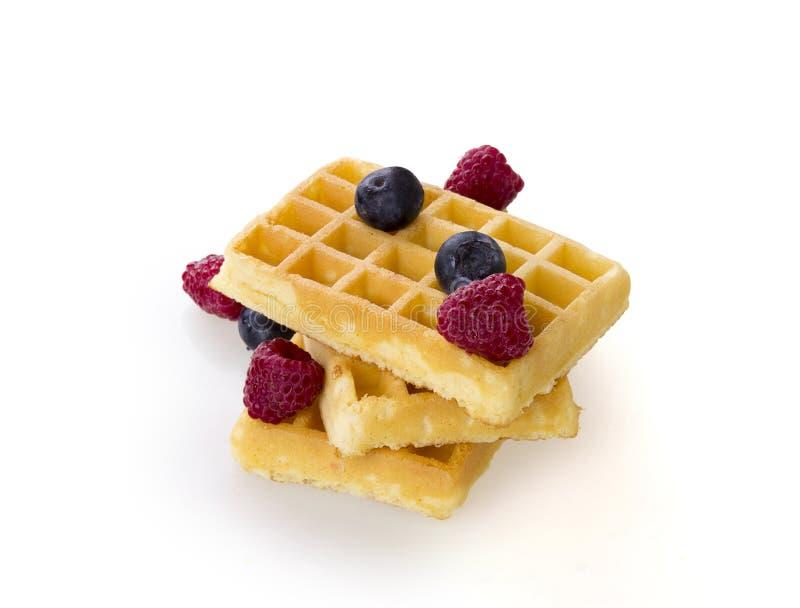 Belgium waffles with fresh berries stock image