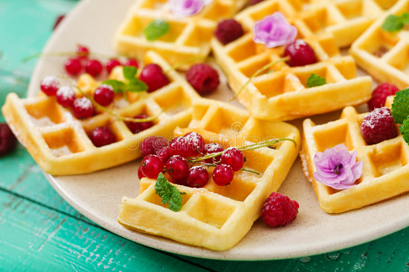Belgium waffles with raspberrie royalty free stock photography