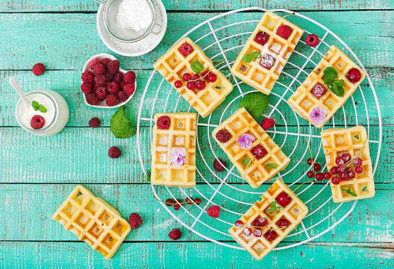 Belgium waffles with raspberries and yogurt on wooden table. royalty free stock image