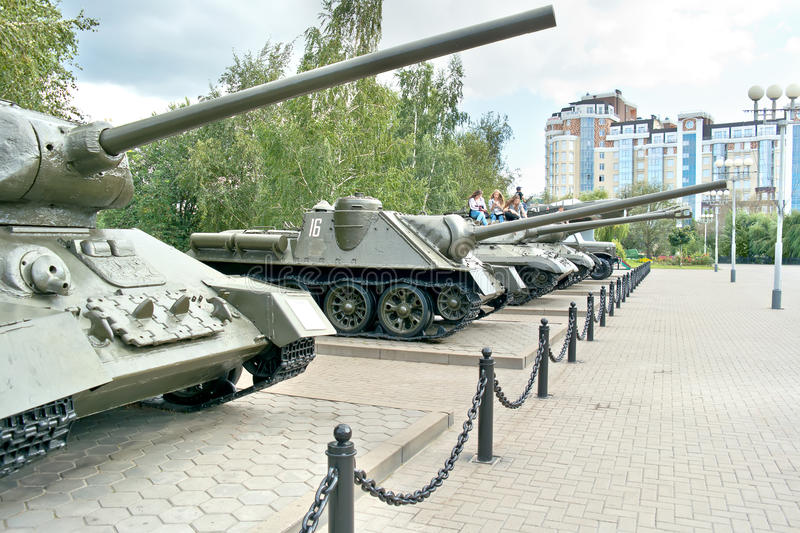 Belgorod. Military weaponry in the open air near a diorama the K. BELGOROD, RUSSIA - August 30.2016: Old models of military weaponry, participating in a battle royalty free stock photography