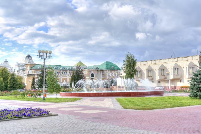 Belgorod. Museum Square. BELGOROD, RUSSIA - August 31.2016: Fountain on the Museum Square next to the Museum of Local Lore and Arte Gallery stock image