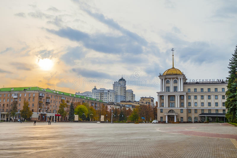 Belgorod, Russia. Cathedral square of the Belgorod city. View of the hotel Belgorod and Holy Trinity Boulevard royalty free stock photo