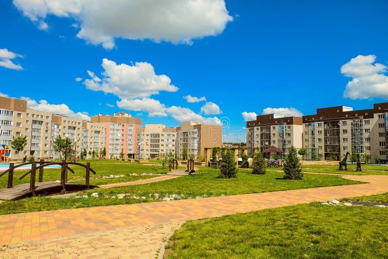 Belgorod, Russia. New residential neighborhood 'Ulitka / Snail'. Internal residential yards. Living environment. Belgorod, Russia. New residential neighborhood stock photo