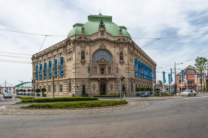Belgrad-Ufergegendprojektgalerie in Savamala, das ehemalige Geb?ude von Geozavod, errichtet zwischen 1905 und 1907, wieder aufgeb lizenzfreie stockbilder