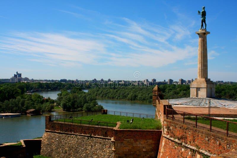 Belgrade avec la belle vue sur le Kalemegdan photos libres de droits