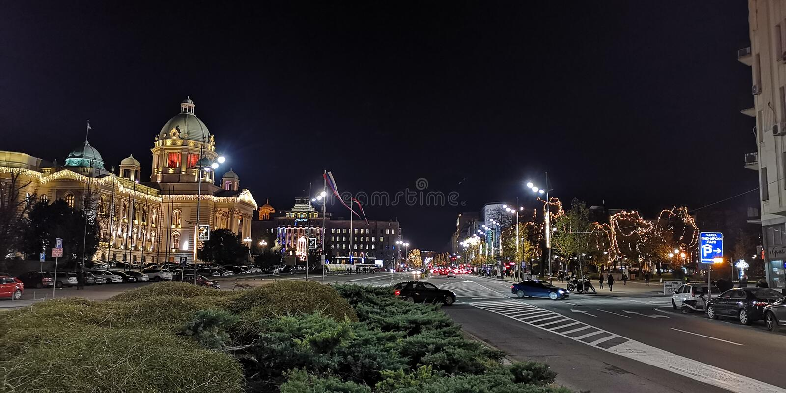 Belgrade City Hall by night stock photography