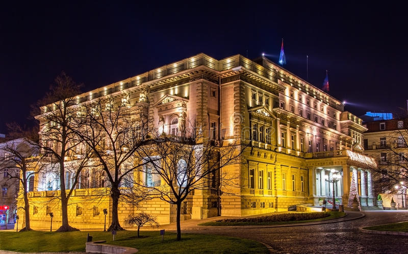 Belgrade City Hall at night royalty free stock photo